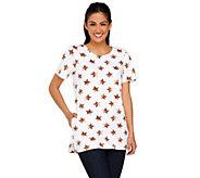 Denim & Co. Active Star Print Short Sleeve Tunic w/ Pocket - A265685