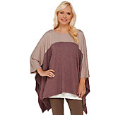 LOGO Lounge by Lori Goldstein French Terry Color-Block Poncho - A266785