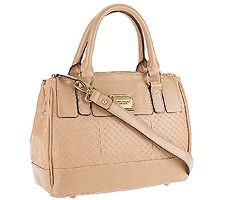Tignanello Distressed Leather Embossed Weave Satchel Handbag