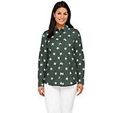 Denim & Co. Star Print Point Collar Button Front Shirt - A267685