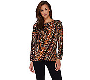 Bob Mackies Printed Sweater Knit Top with Side Slits - A268385