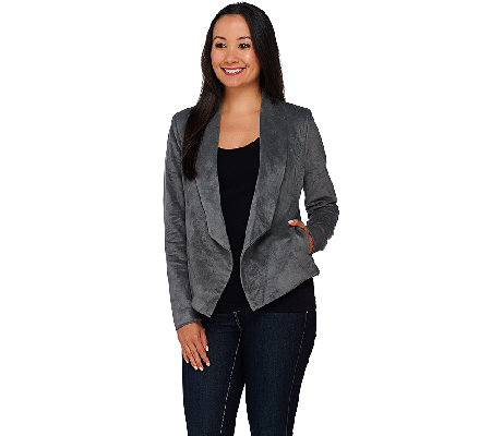 H by Halston Open Front Faux Suede Jacket