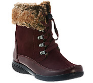 Clarks Leather Water Resistant Ankle Boots w/ Faux Fur - Kearns Ramsey - A271785