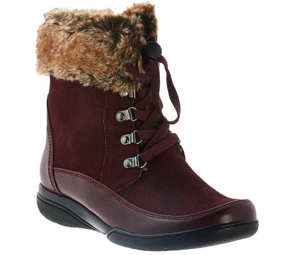 Clarks Leather Water Resistant Ankle Boots w/ Faux Fur - Kearns Ramsey -  Page 1 — QVC.com