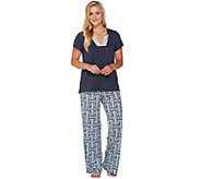 Carole Hochman Cotton Rayon Diamond Ikat Patio Pant Lounge Set - A273585