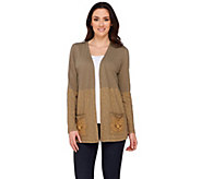 LOGO by Lori Goldstein Open Front Cardigan with Embellishments - A274085