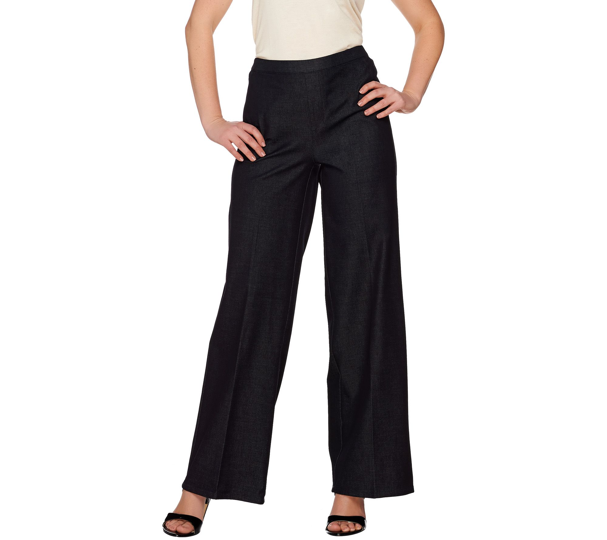 H by Halston Studio Stretch Pull-on Wide Leg Pants - Page 1 — QVC.com