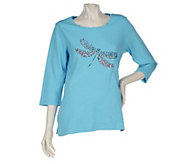As Is Quacker Factory Super Sparkle 3/4 Sleeve T-Shirt - A274685