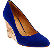 Franco Sarto Suede Cork Wedge Pumps - Calix - A274785