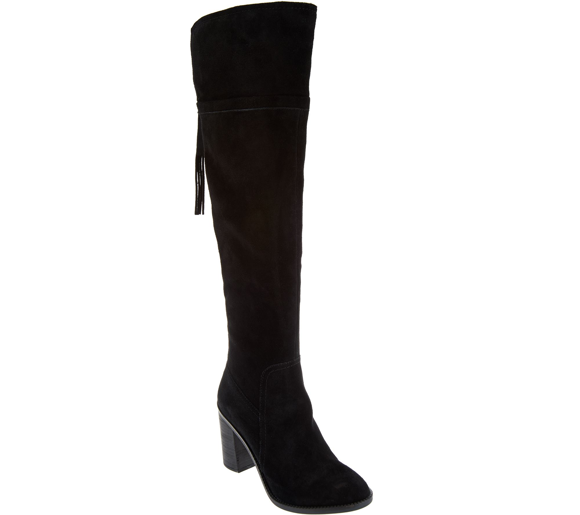 franco sarto the knee suede boots with tassel