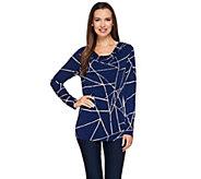 As Is Susan Graver Printed Liquid Knit Drape Neck Top W/Button Detail - A281885