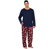As Is Stan Herman Mens Fleece & Interlock Pajama Set - A281985