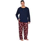 As Is Stan Herman Mens Fleece & Interlock Pajama Set - A281985