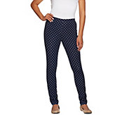 As Is Susan Graver Weekend Printed Stretch Cotton Leggings - A283585