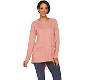 LOGO Lounge by Lori Goldstein Raglan Sleeve Top with Woven Shirttail - A286985