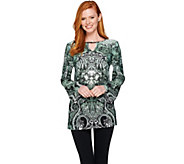 Attitudes by Renee Printed Jersey Knit Keyhole Tunic - A287085