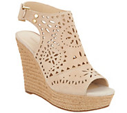 Marc Fisher Suede Perforated Peep-toe Wedges - Harlea - A287485