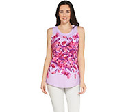 Isaac Mizrahi Live! Engineered Garden Floral Print Tank Top - A288685