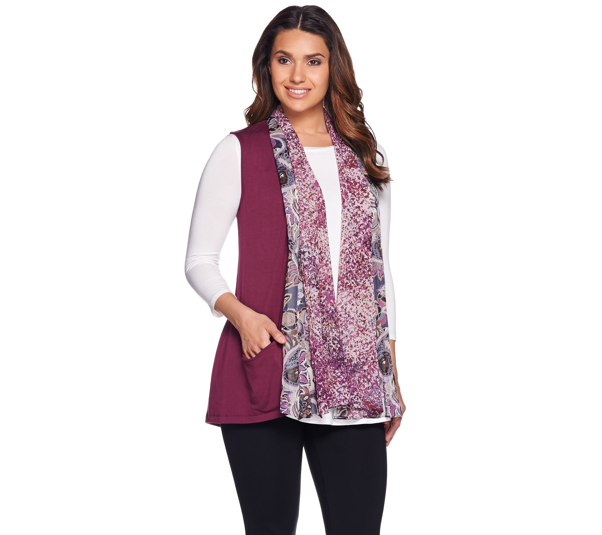 quot as is quot logo by lori goldstein knit vest with printed trim qvc com