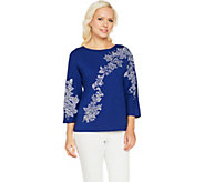 Bob Mackies Floral Embroidered Dolman Sleeve Knit Top - A290585