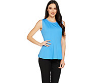 H by Halston VIP Ponte Sleeveless Peplum Top with Seam Details - A290685