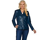 As Is Denim & Co. Zip Front Faux Leather and Ponte Knit Jacket - A291185