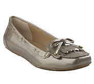 As Is Isaac Mizrahi Live! Patent Moccasins w/ Bow Detail - A291385
