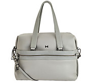 As Is H by Halston Pebble & Saffiano Leather Large Satchel Handbag - A291585