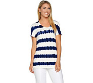 Lisa Rinna Collection Short Sleeve Striped Tie-Dye Knit Top - A292285