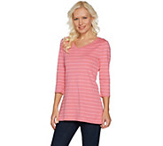 Isaac Mizrahi Live! Essentials 3/4 Sleeve Striped Tunic - A300885