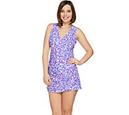 As Is Denim & Co Beach V-Neck Swim Dress with Side Ruching - A302585