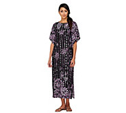 Bob Mackies Boatneck Placement Print Maxi Dress w/Split Sleeves - A224586