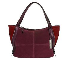 Tignanello Suede Color-Block Shopper with Side Zip Detail