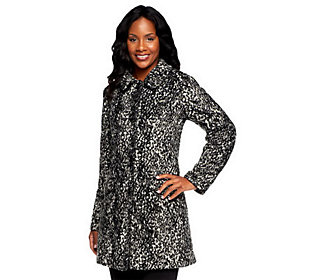 Product image of Dennis Basso Mini Cheetah Print Faux Fur Coat w/Faux Leather Piping