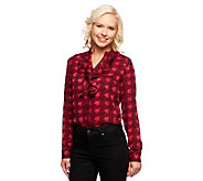 Isaac Mizrahi Live! Watercolor Houndstooth Ruffle Top - A237886