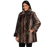 Dennis Basso Faux Snow Lynx Fur Swing Coat w/ Maxi Collar - A238986