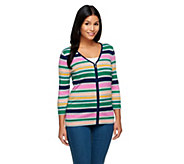 Liz Claiborne New York Multi-Stripe Zip Front Cardigan - A240286