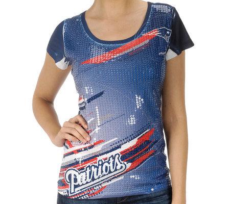Nfl patriots women 39 s sublimated sequin t shirt a249686 for Patriots t shirts for women