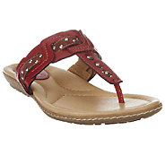 Earth Mist Leather Thong Sandals with Grommet Detail - A253586