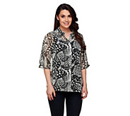 Isaac Mizrahi Live! Butterfly Print Top with Tank - A255686