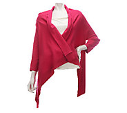 As Is Dennis Basso Cascade Front 3/4 Sleeve Sweater w/Chiffon Trim - A257586