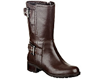 Marc Fisher Quilted Leather Boots w/ Buckle Accents - Jenna - A258386