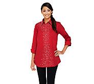 Joan Rivers Joan Knows Best Embellished Boyfriend Shirt - A259286