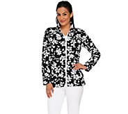 Denim & Co. Active Floral Print Zip Front Jacket - A265686