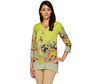 Kelly by Clinton Kelly Printed V-neck 3/4 Sleeve Tunic - A266486