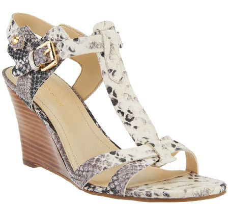 Marc Fisher Leather Wedge Sandals - Casandra