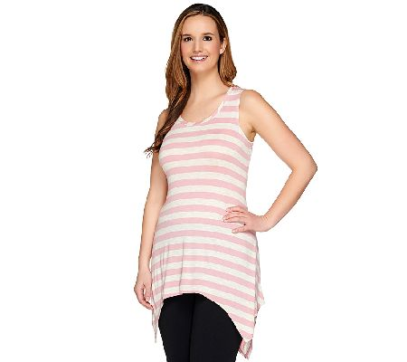 LOGO by Lori Goldstein Striped Sharkbite Hem Slub Knit Tank