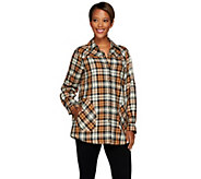 Joan Rivers Plaid Boyfriend Shirt w/ Long Sleeves - A267886