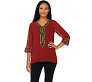 Bob Mackies Embroidered Neckline Georgette Top - A268386