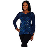 Bob Mackies Long Sleeve V-Neckline Knit Tunic with Sequin Detail - A272186